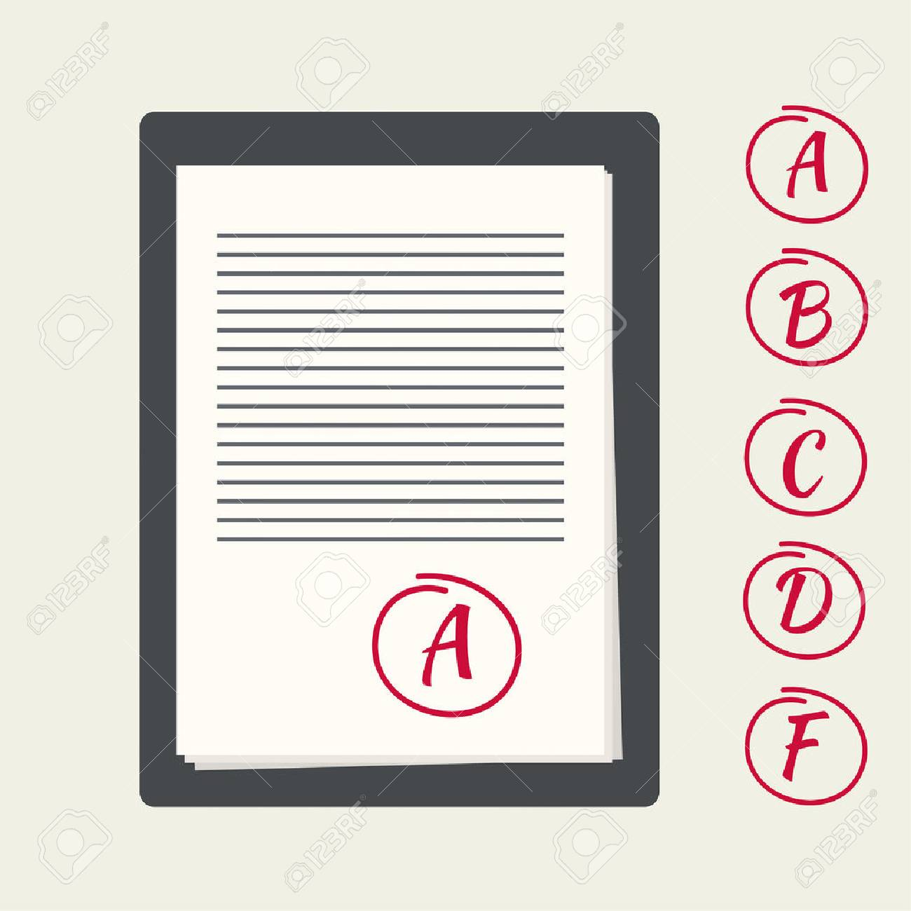 Clipboard With Exam Papers. The Grading Scale For The Examination ...
