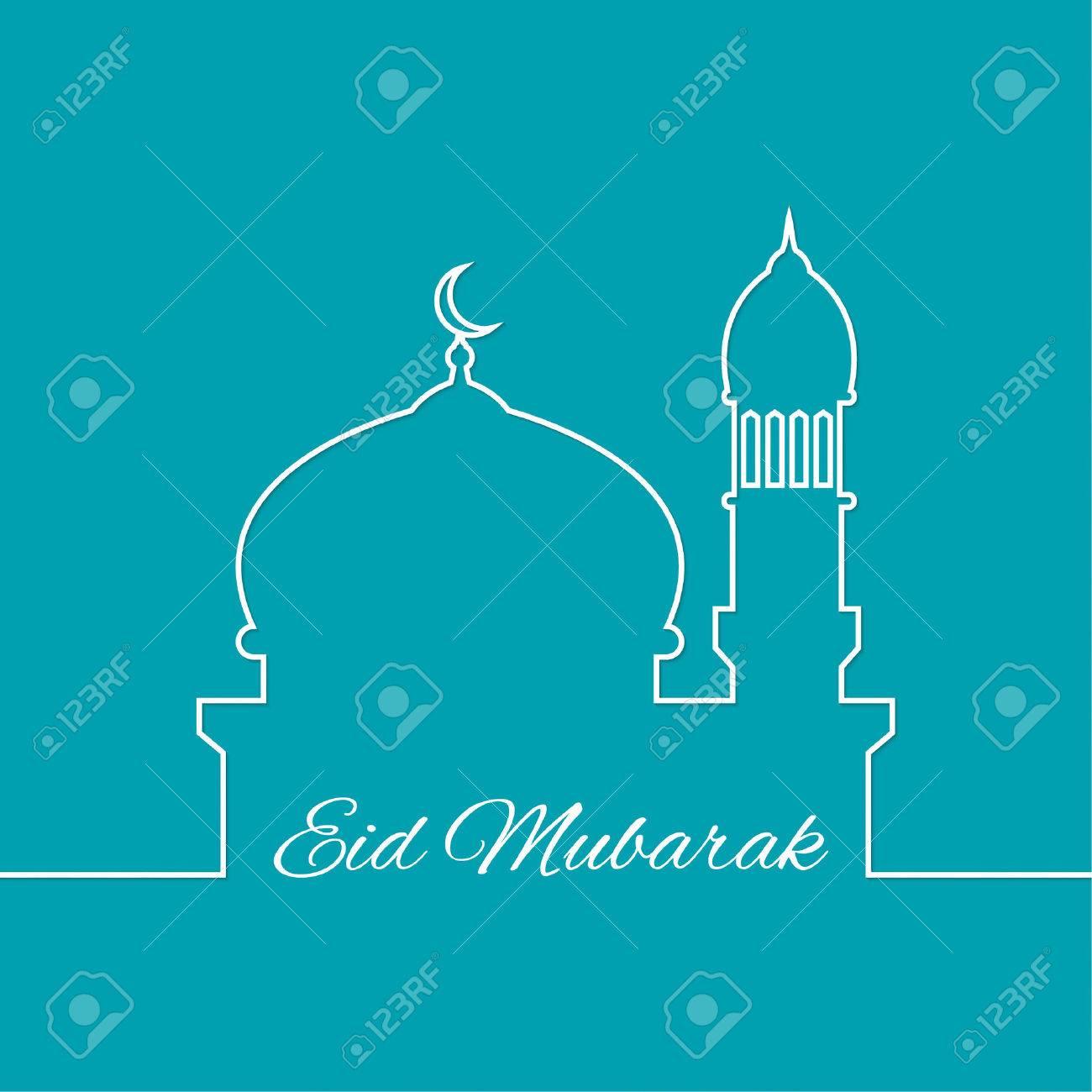 Arab mosque. outline. minimal. Eid Mubarak. vector - 45220254