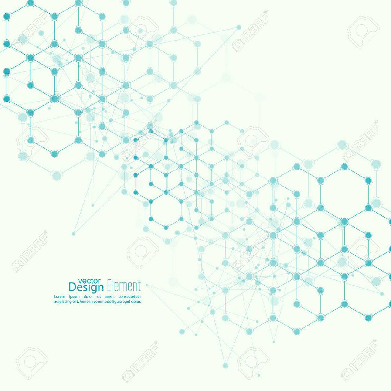 Virtual abstract background with particle, molecule structure. genetic and chemical compounds. creative vector. Science and connection concept. Social network. crystal cell - 45513377