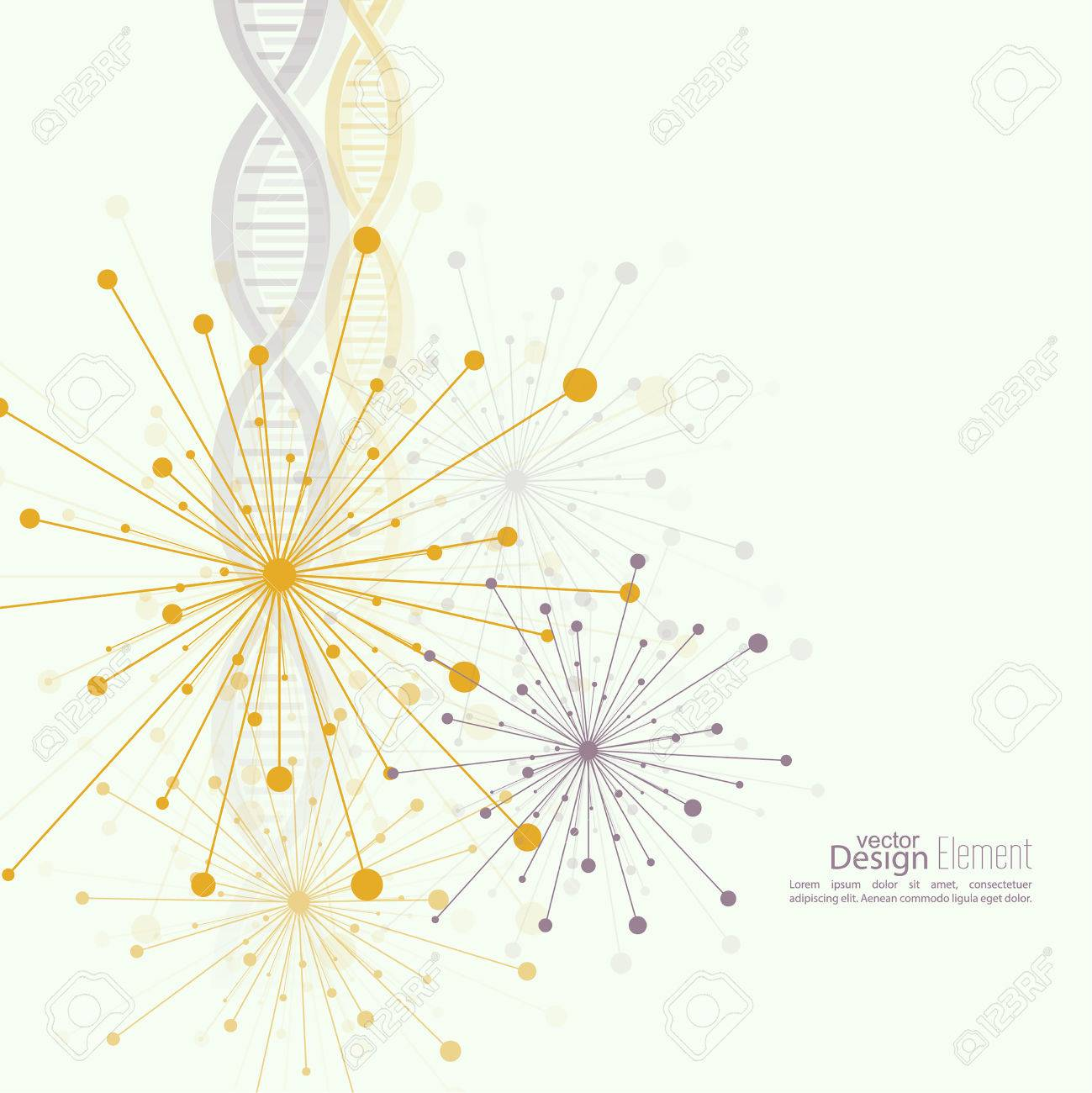 Array with dynamic emitted particles, dot. Node molecule structure. Science and connection concept. Explosion and destruction. Techno Research, brain cells, neurons. DNA strand, helix, spiral - 45513411