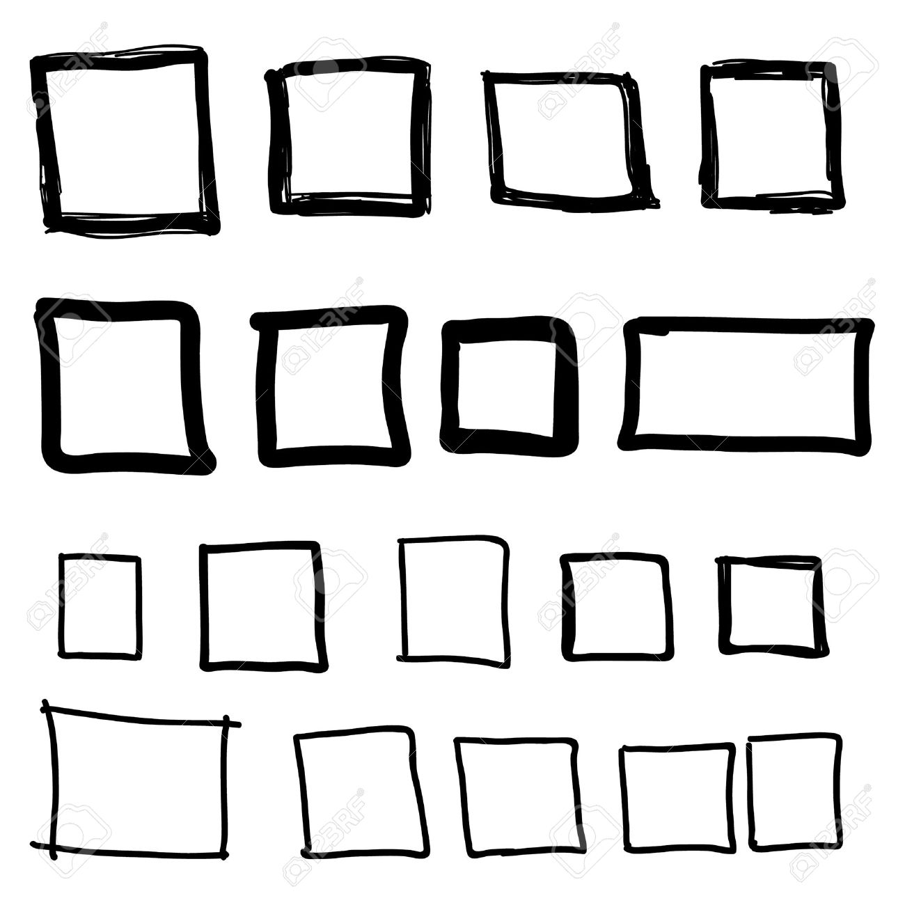 Set Hand Drawn Square Felt Tip Pen Objects Text Box And Frames
