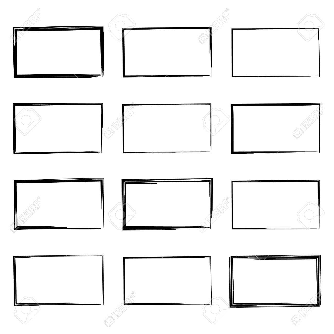 Set hand drawn rectangle, felt-tip pen objects. Text box and frames. - 45523616