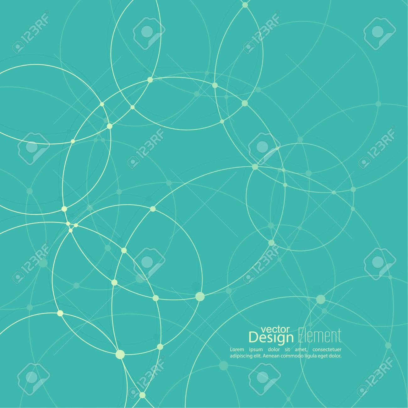 Abstract background with overlapping circles and dots. Chaotic motion. - 45655117