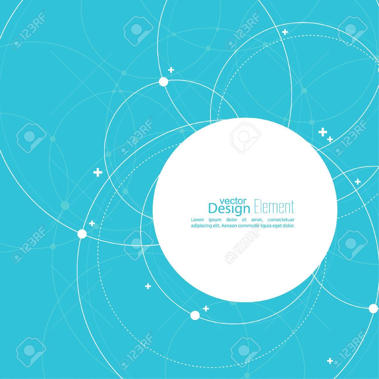 重複の円とドットで抽象的な背景は。混沌とした動き。本文の空スペース ...