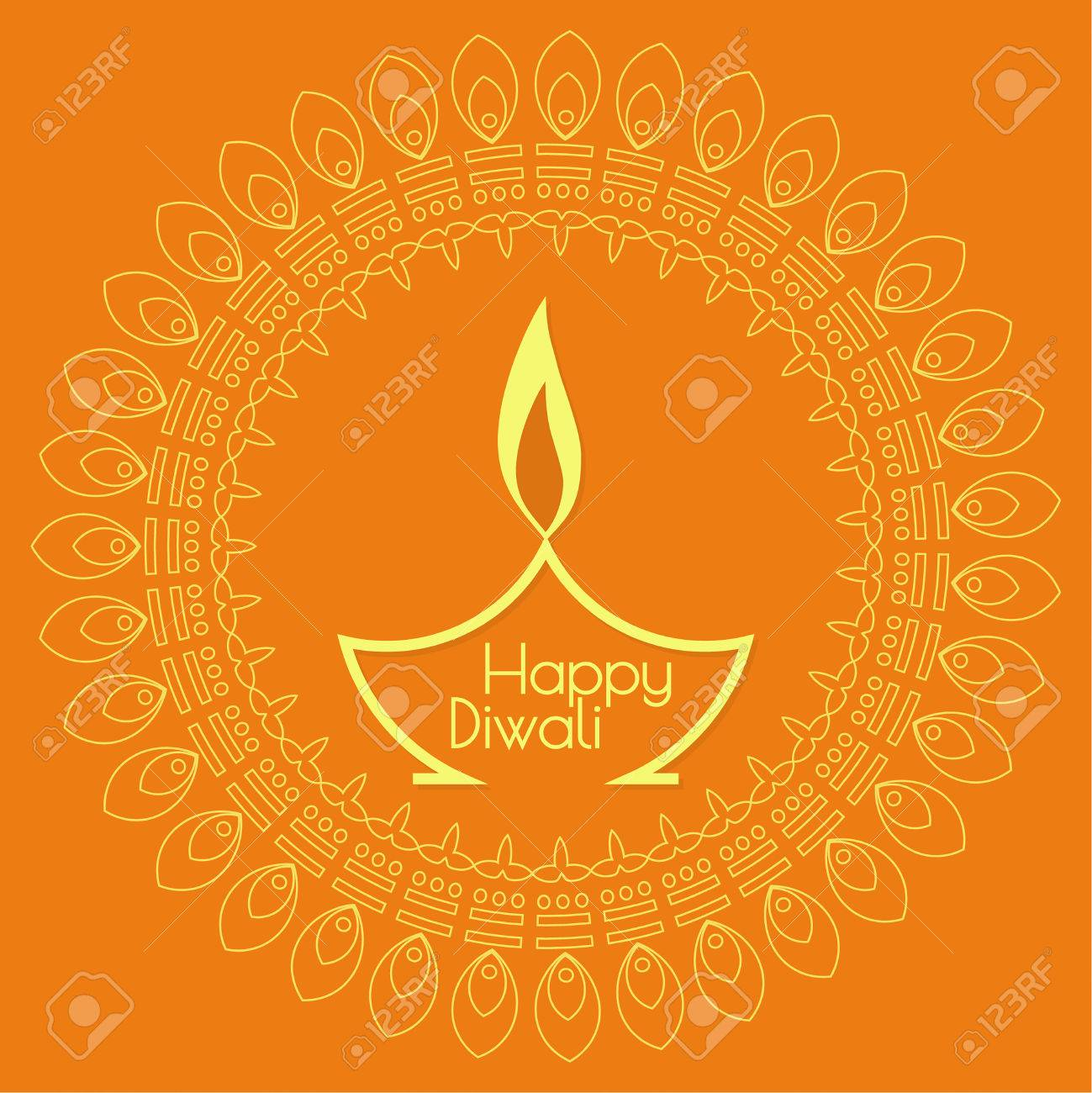 Abstract background with oil lit lamp with rangoli for Diwali celebration. - 45657865