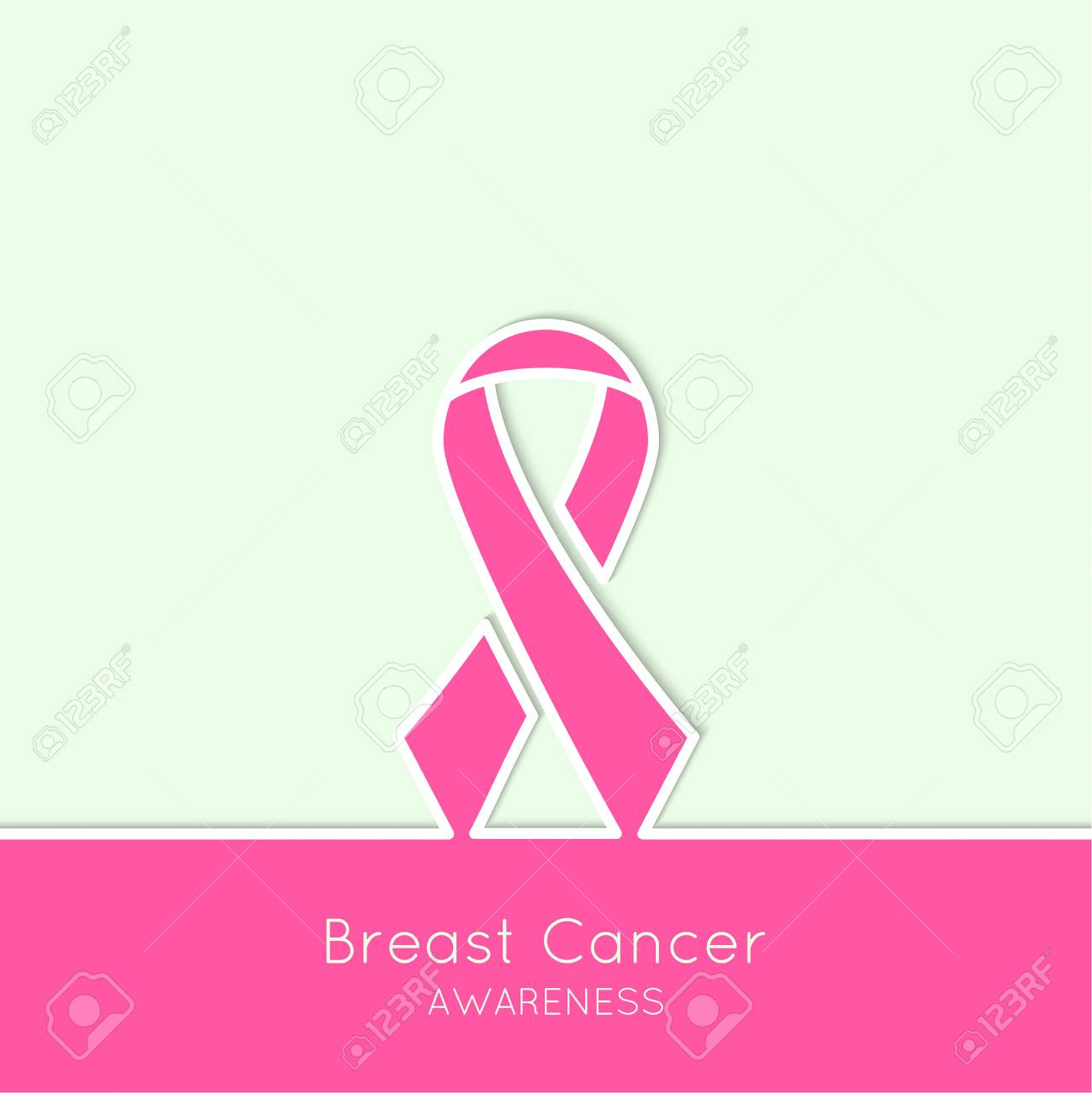 Breast Cancer Awareness Ribbon Vector Icons Pink Outline