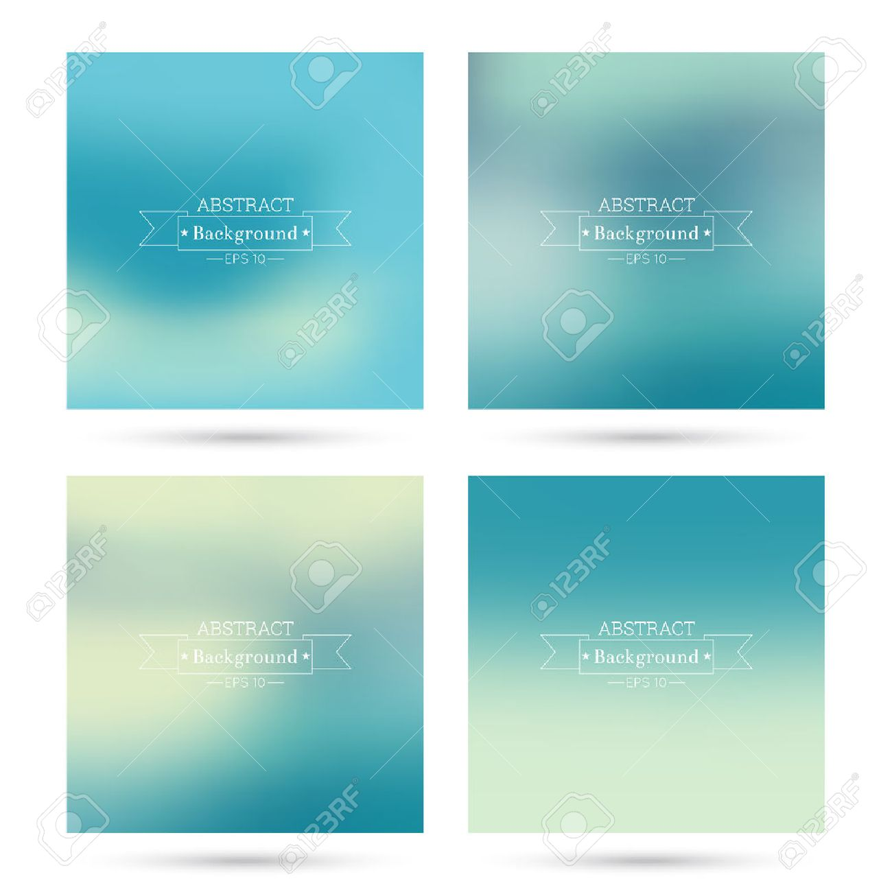 Set of vector colorful abstract backgrounds blurred. For mobile app, book cover, booklet, background, poster, web sites, annual reports. blue, green, turquoise, cream, yellow - 47067231