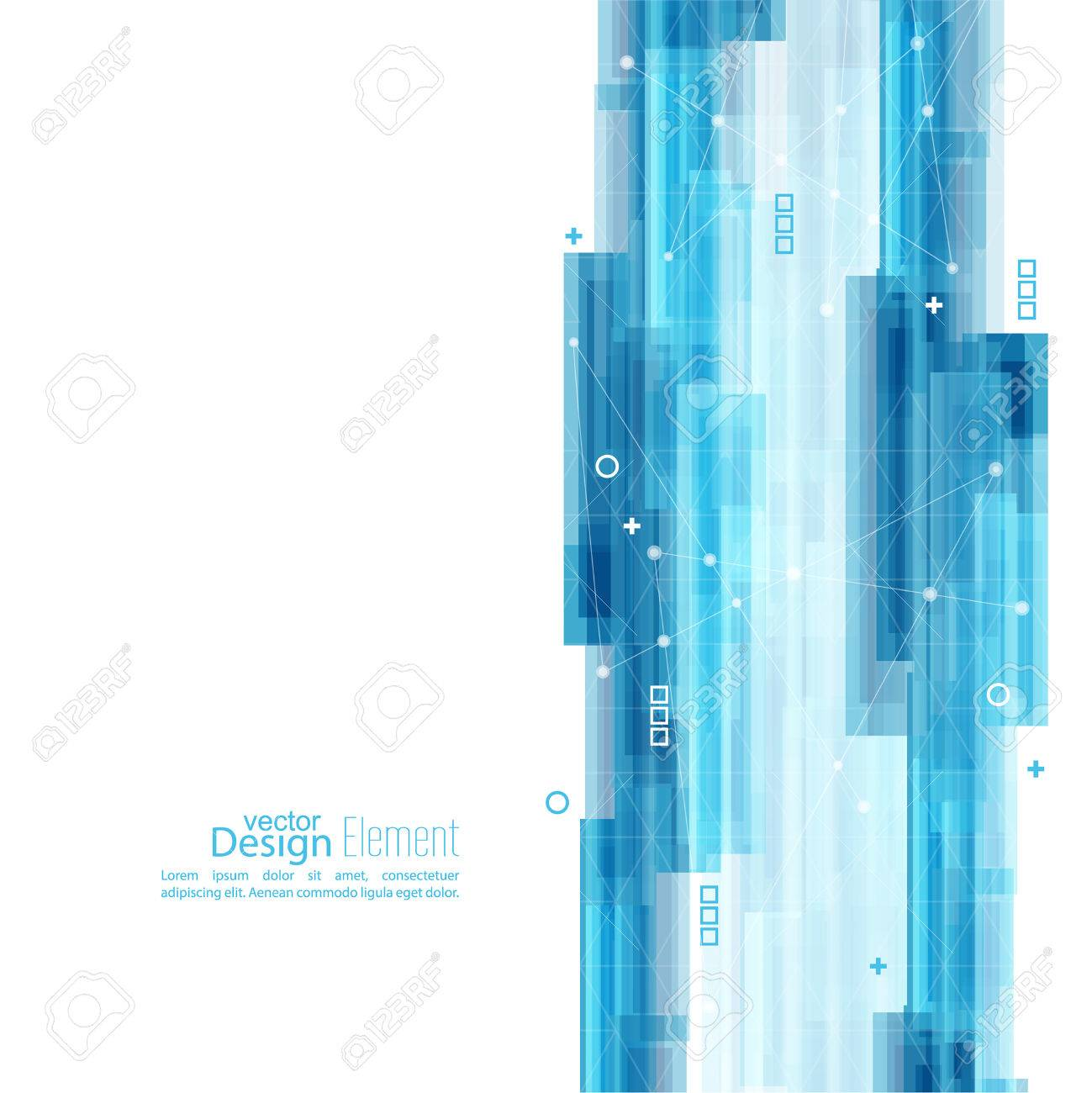 Abstract background with blue stripes. Concept new technology and dynamic motion. Digital Data Visualization. For cover book, brochure, flyer, poster, magazine, booklet, leaflet - 47067252