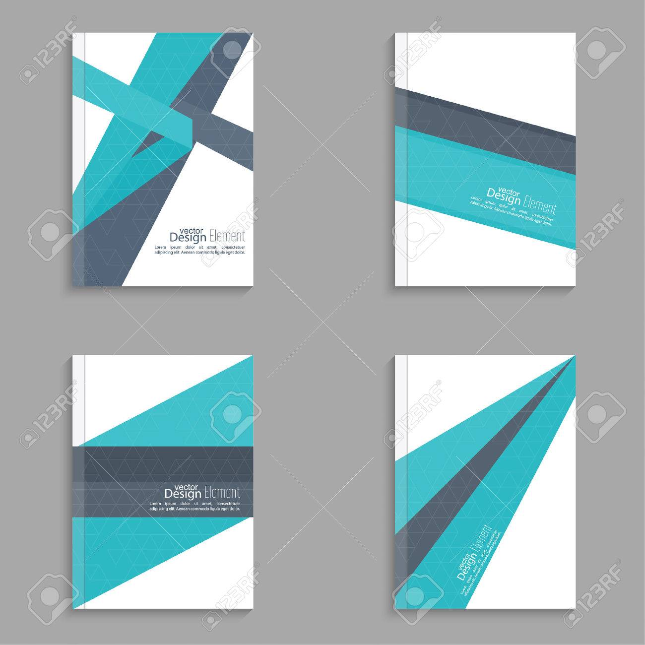 Set Magazine Cover with origami intersecting ribbons. For book, brochure, flyer, poster, booklet, leaflet, cd cover, postcard, business card, annual report. vector illustration. abstract background - 47491200