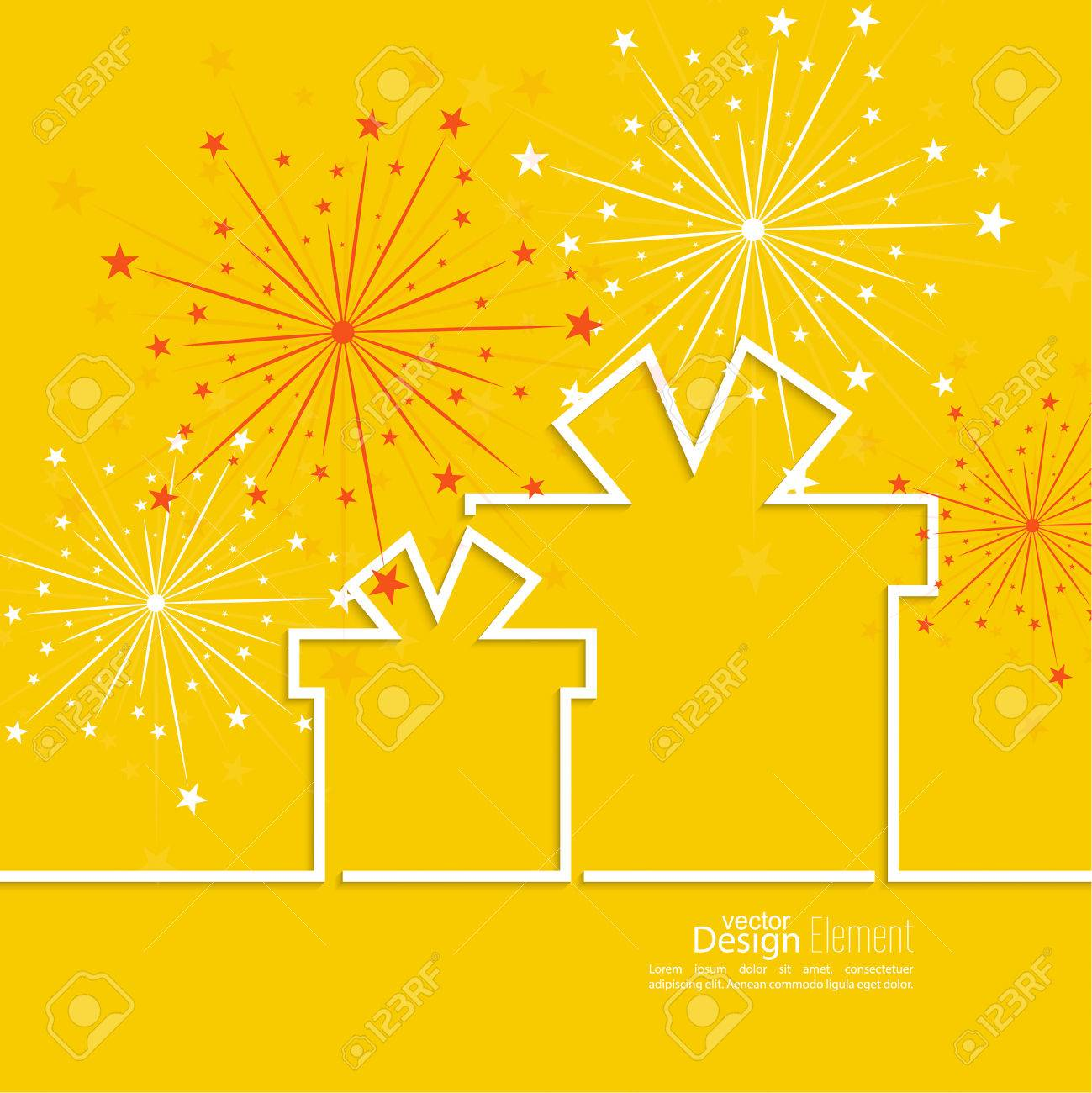 Gift box with red ribbon and colorful fireworks on light background. Congratulations on anniversary - 47491231