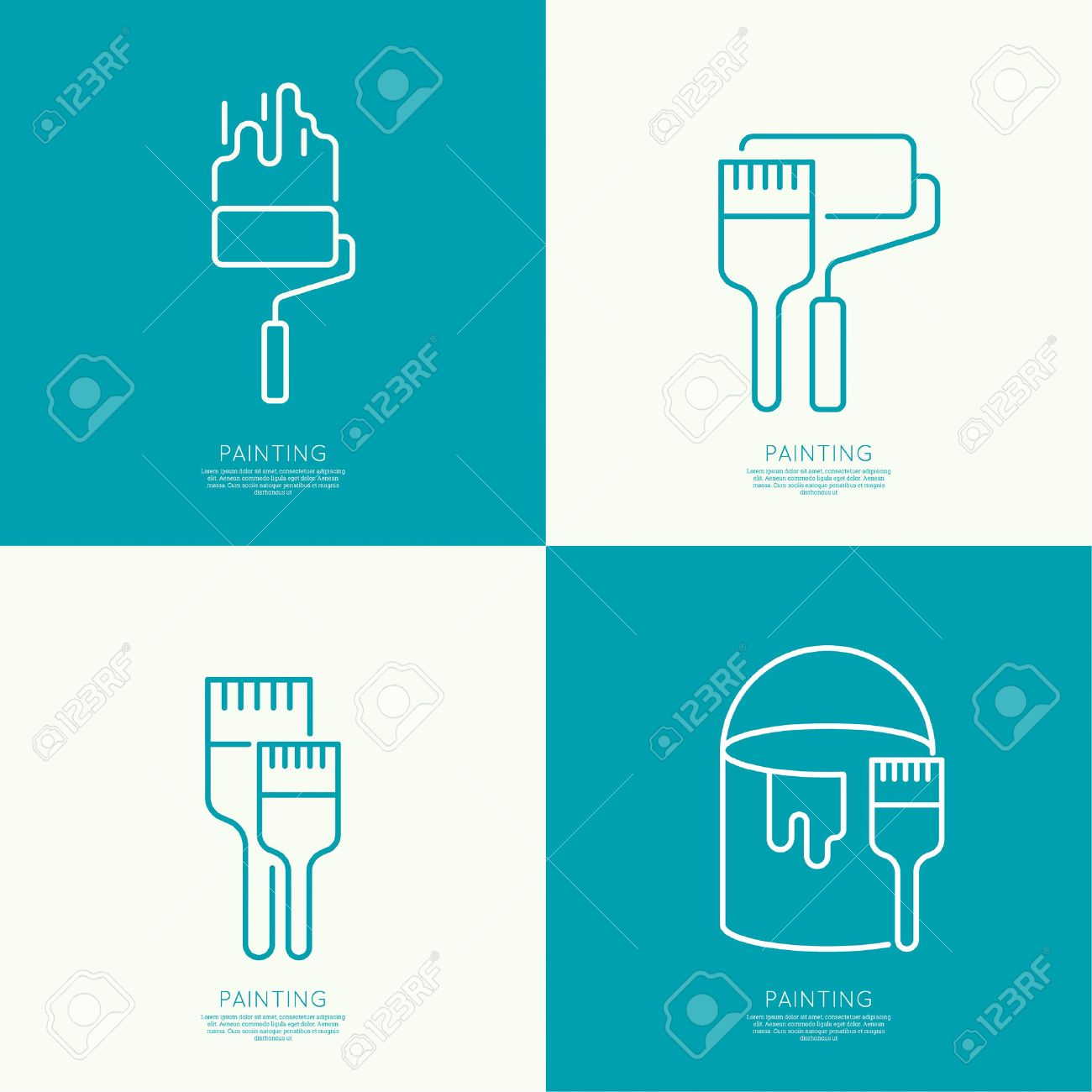 Icon set with brush, roller, paint cans. Painting and restoration. Painting work. Outline. minimal - 47783944