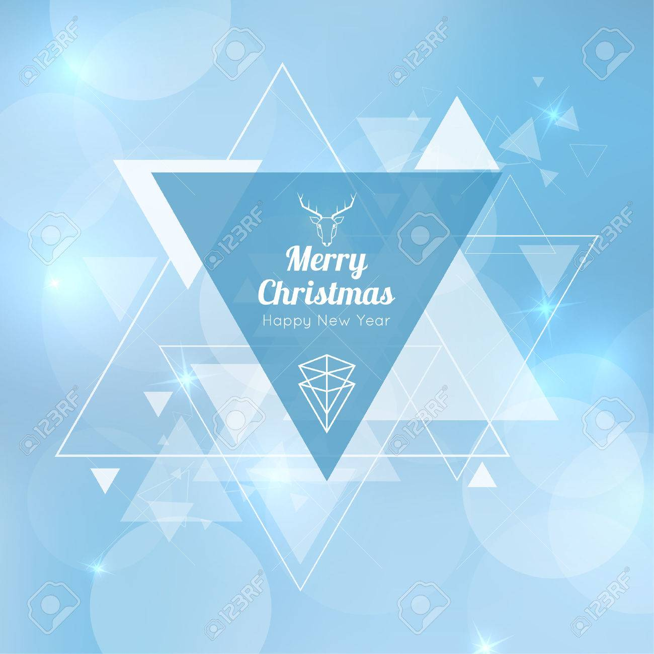 Abstract blurred vector background with triangular banner and hovering triangles. Merry Christmas. Happy New Year. - 47784458