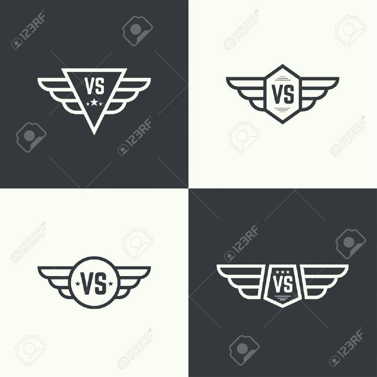 Versus sign. Badge with wings. Concept of opposition, battle, confrontation - 48203754