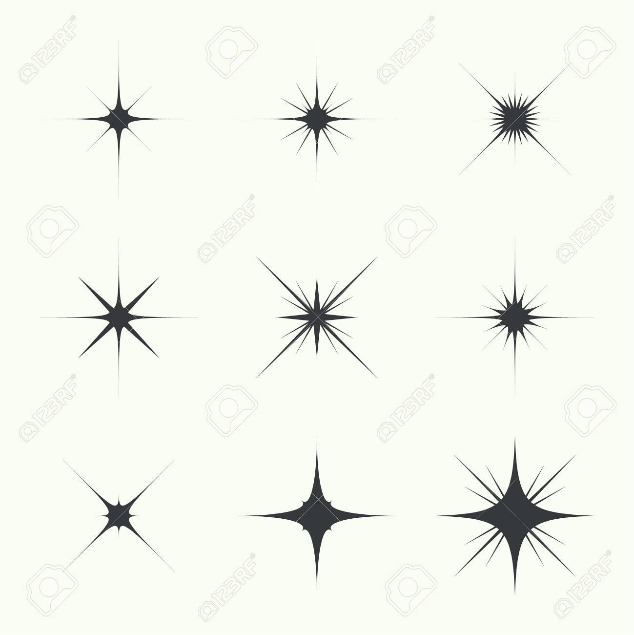 Vector set of sparkle lights stars. Stars with rays, explosion, fireworks. light background - 48203912