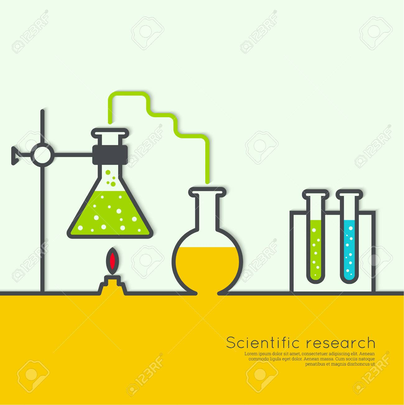 The concept of chemical science research lab retorts, beakers, flasks and other equipment. Biological and scientific tests. discovery new technologies - 50792844