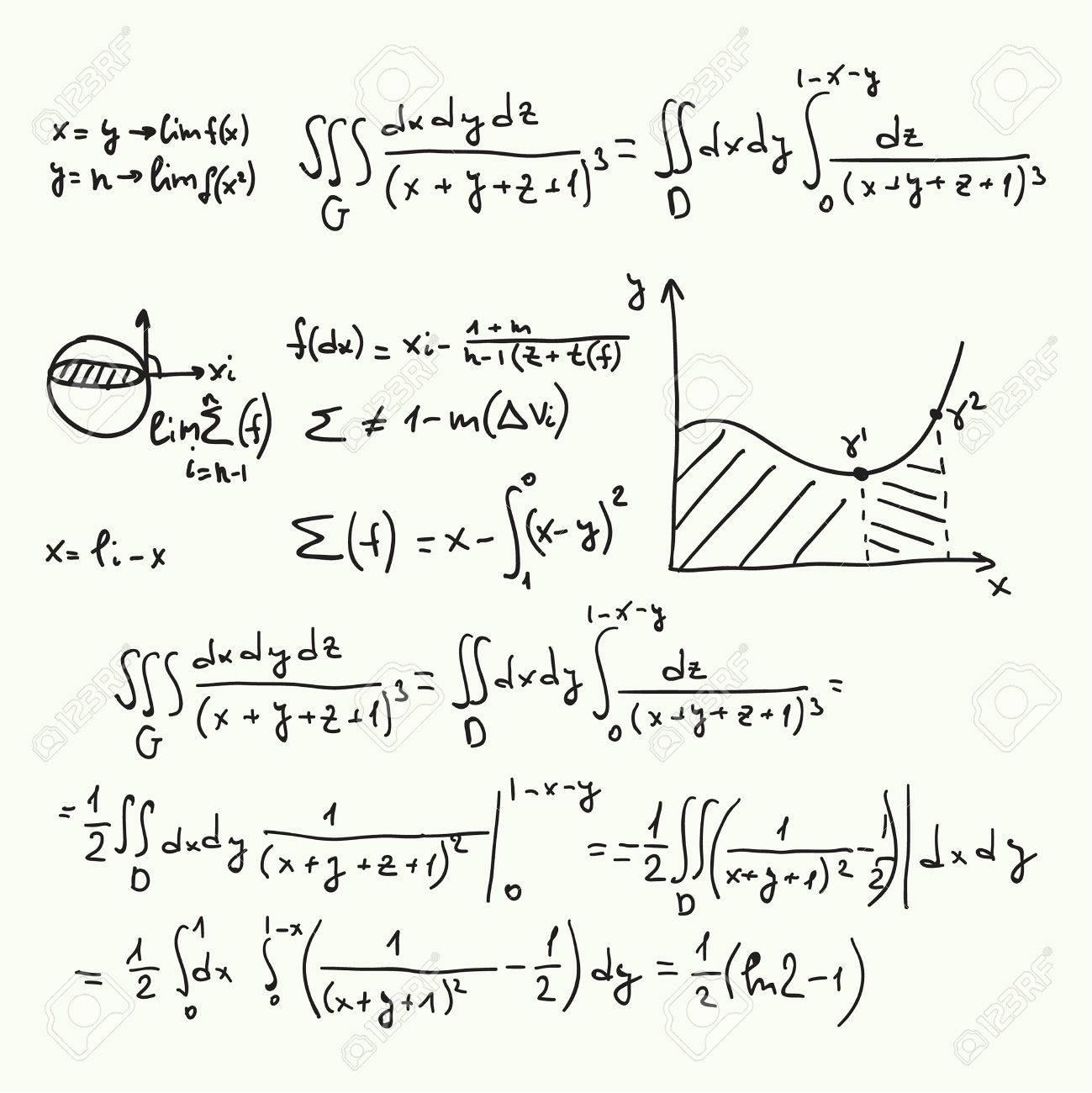 Vector Patrón Con Fórmulas Matemáticas, Cálculos, Gráficos, La ...