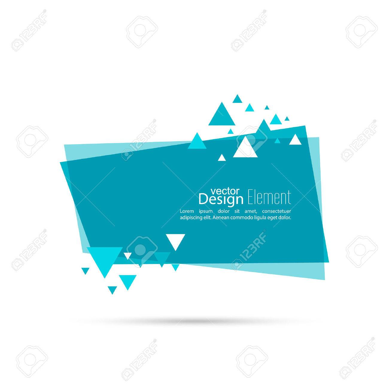 Abstract background with rectangle banner and dynamic triangles. Blue. Vector. - 55533203