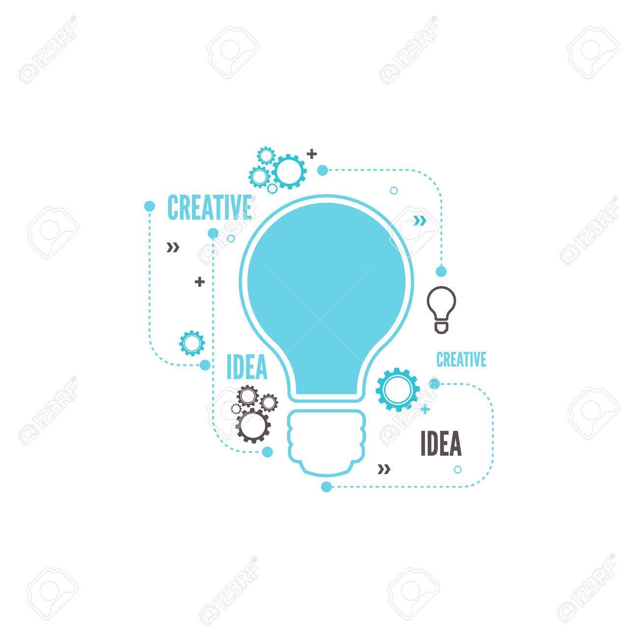 Electric Lamp And Gear. Bulb Light Idea. Concept Of Big Ideas ...