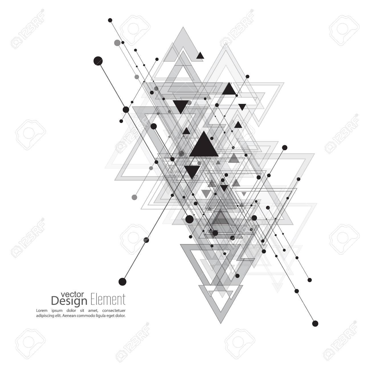 Abstract vector background with geometric shapes intersecting abstract vector background with geometric shapes intersecting diagonal lines with dots and translucent triangles buycottarizona