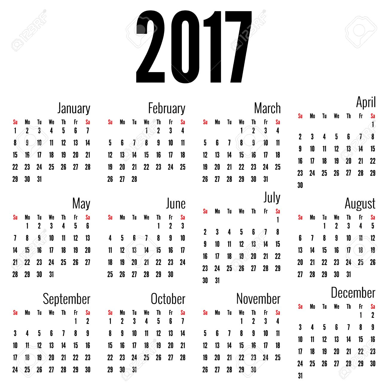 Monthly Calendar For 2017 Simple Month Grid Template Vector