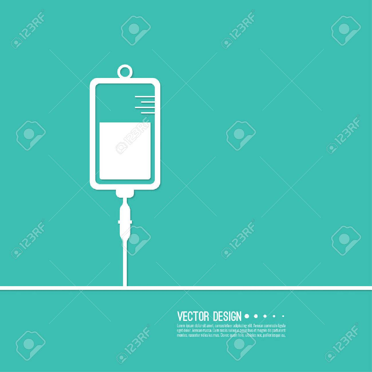 Vector iv bag icon. Saline symbol on background. Medical saline IV. The concept of treatment and therapy, chemotherapy. Modern vector design - 57406246