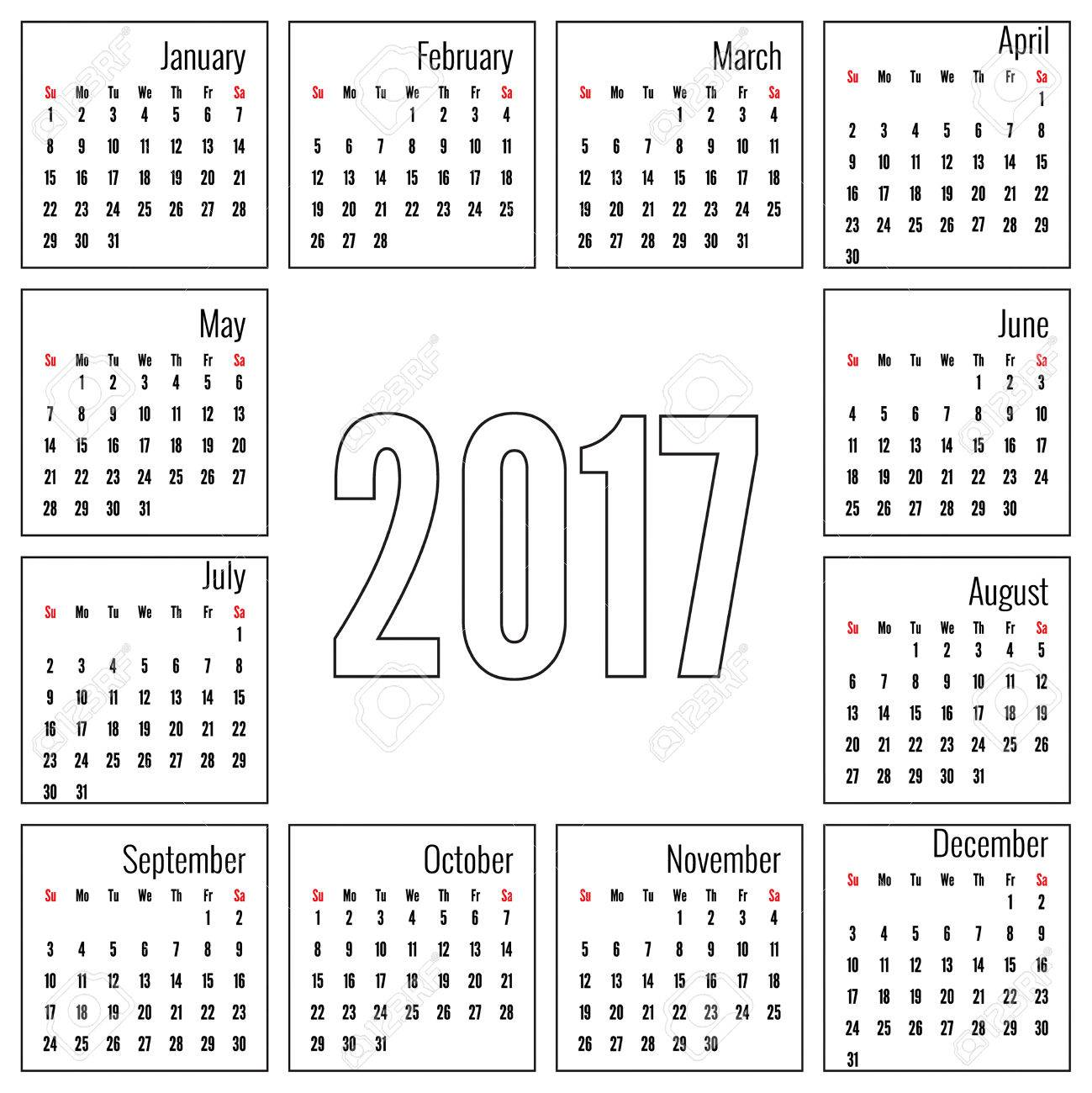 Monthly Calendar For 2017. Simple Month Grid Template. Vector ...