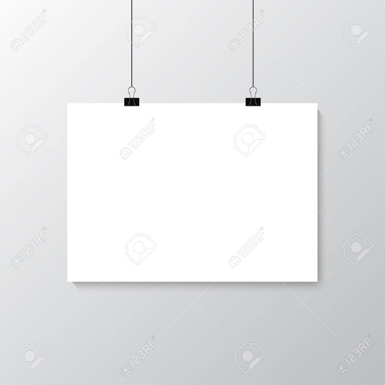 Image vector white poster hanging on binder. Grey wall with mock up empty paper blank. Layout mockup. Horizontal template sheet. - 58707157