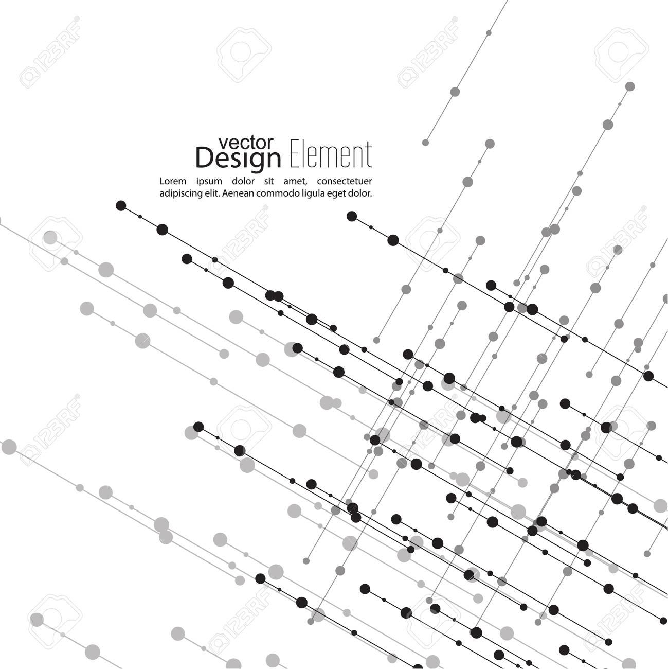 Resumen De Antecedentes Virtual Con Partículas Estructura De La Molécula La Intersección De Líneas Diagonales Con Puntos Blanco Y Negro Sepia