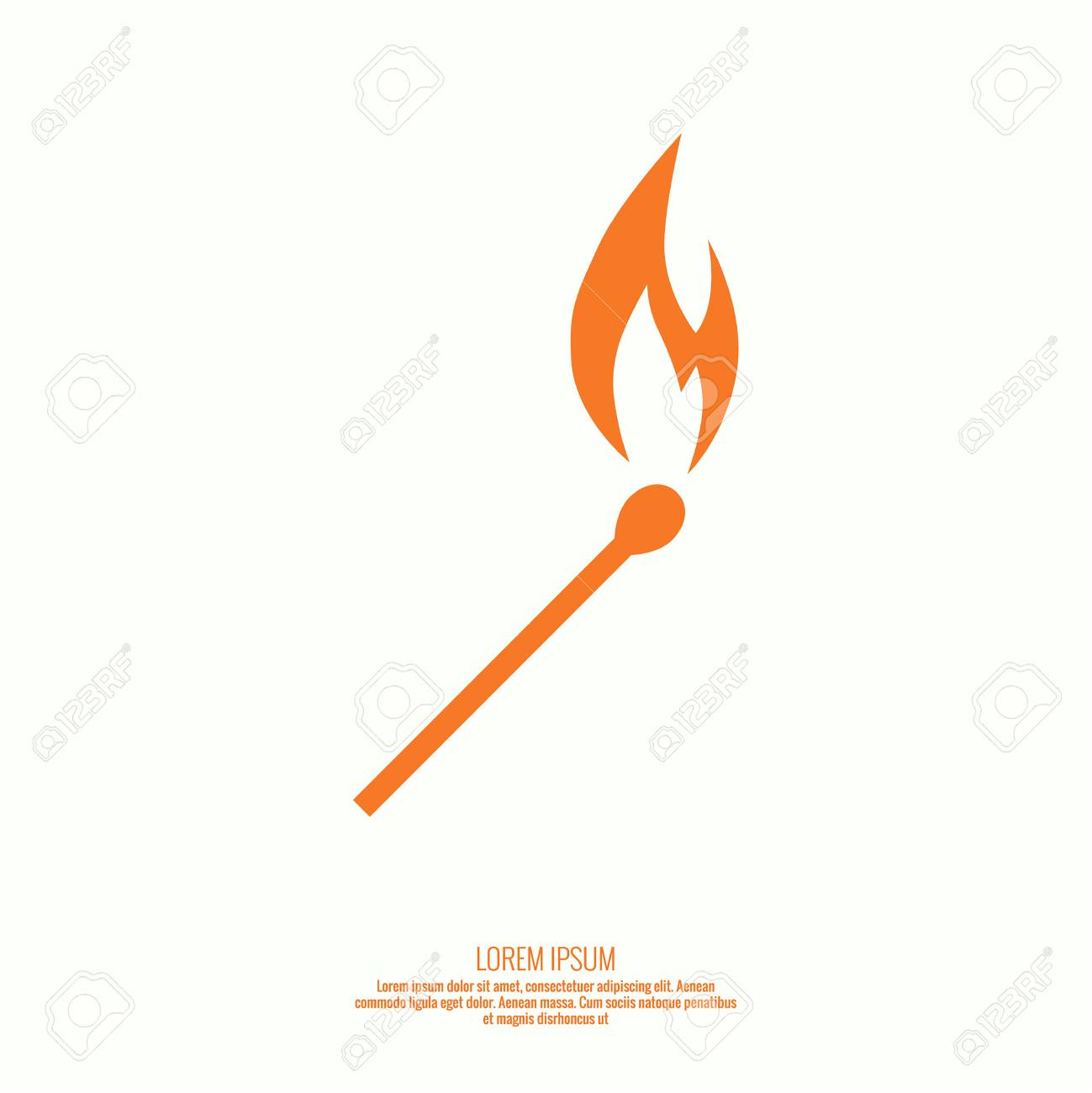 Burning match. Fire flames. Icon. vector design template