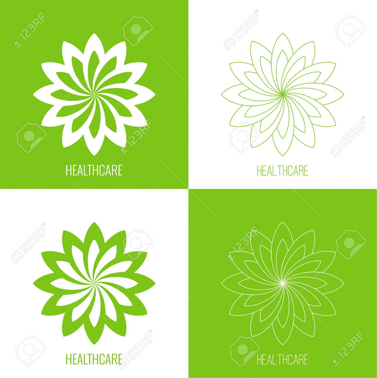 Set Abstract Vector Logo Element Lotus Flower Icon For Beauty
