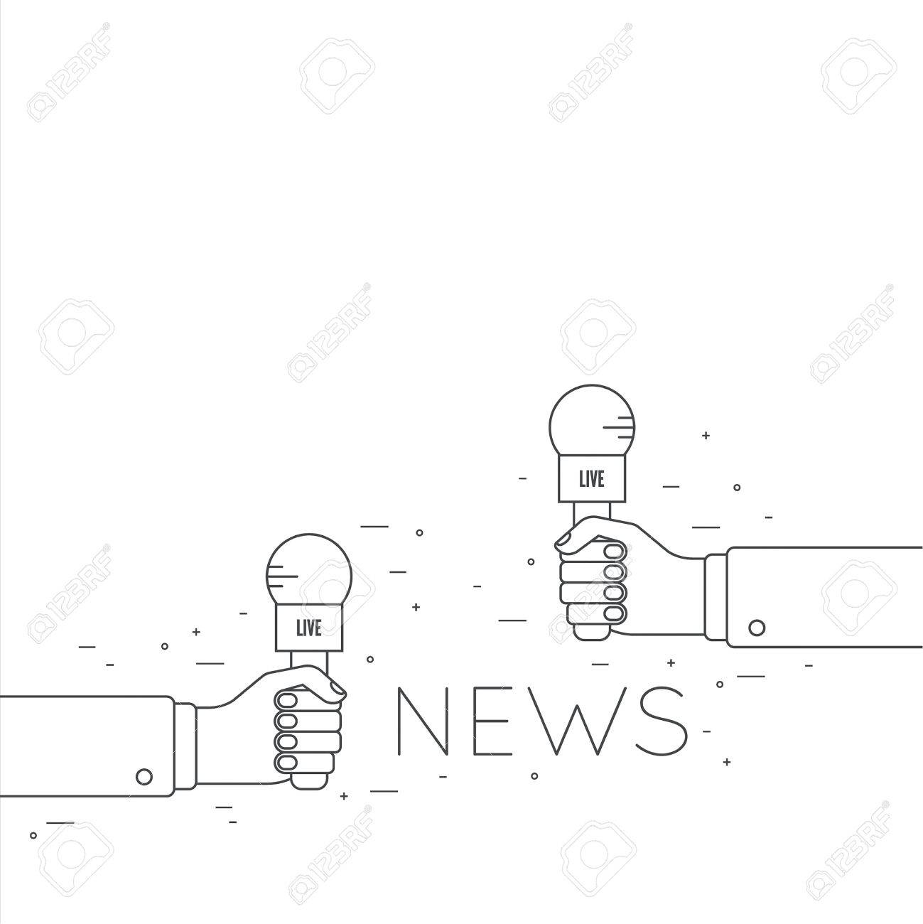 Journalism concept live news template with microphone symbol live news template with microphone symbol breaking news on tv radio pronofoot35fo Images