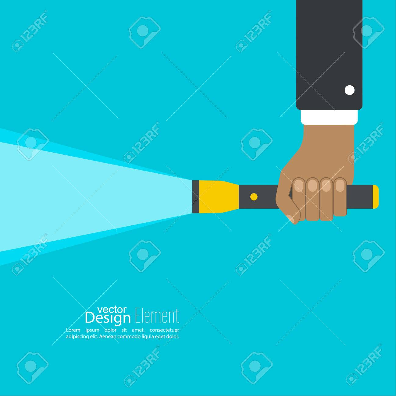 Vector Background With Hand Holding A Flashlight. Vector Flat ... for Flash Light Vector Background  117dqh