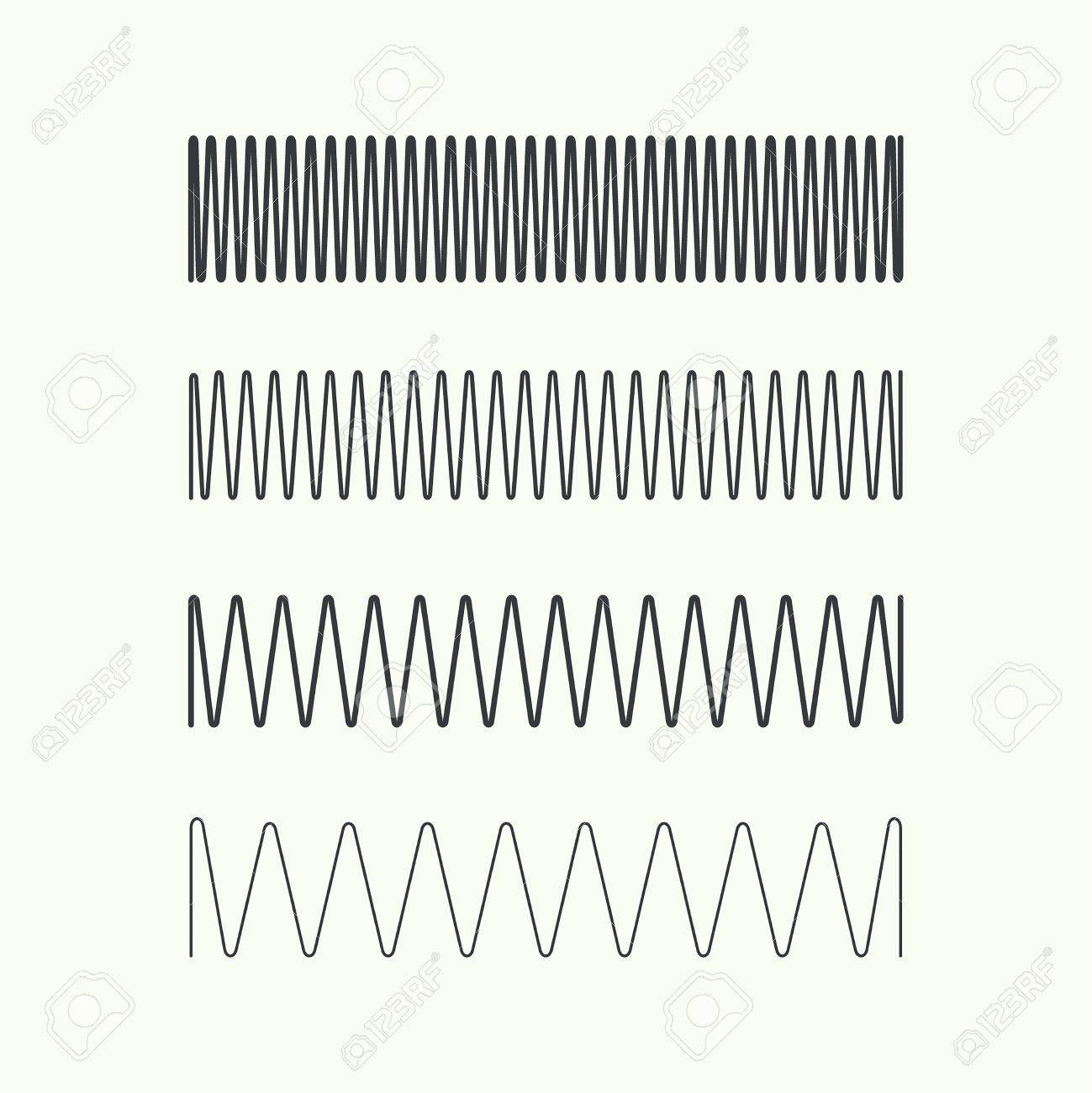 Set Coil Spring Vector Icon. Induction Spiral Electrical Symbol ...