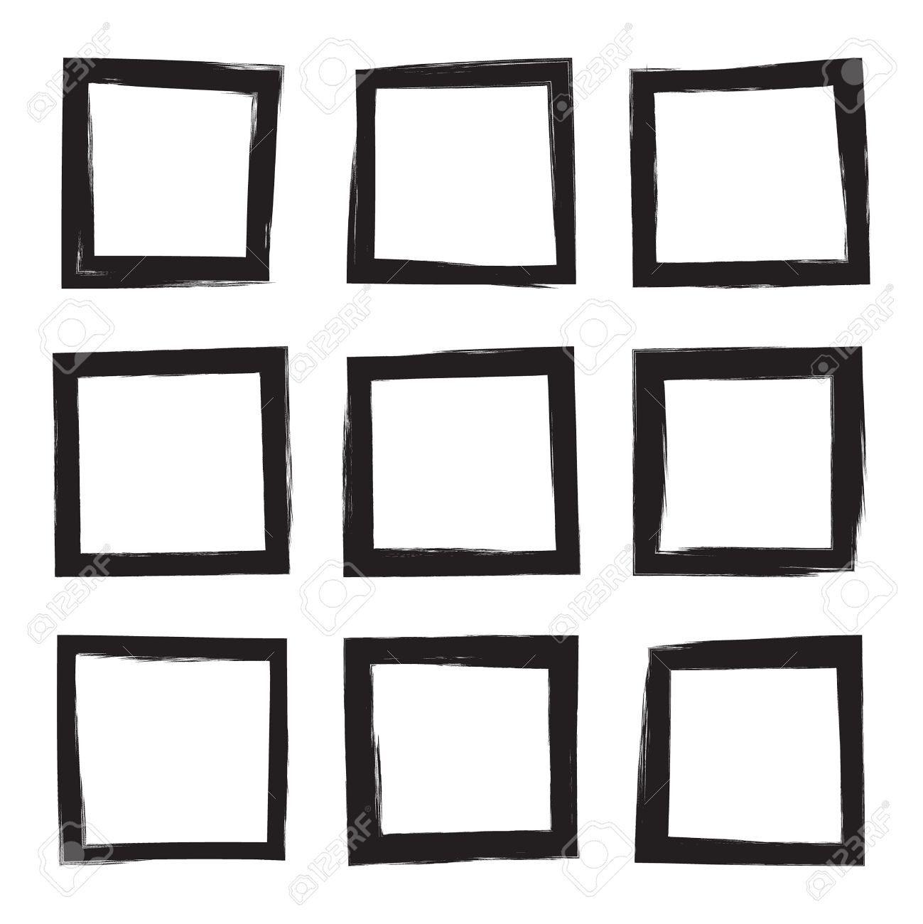 set hand drawn square photo foto frame text box from black
