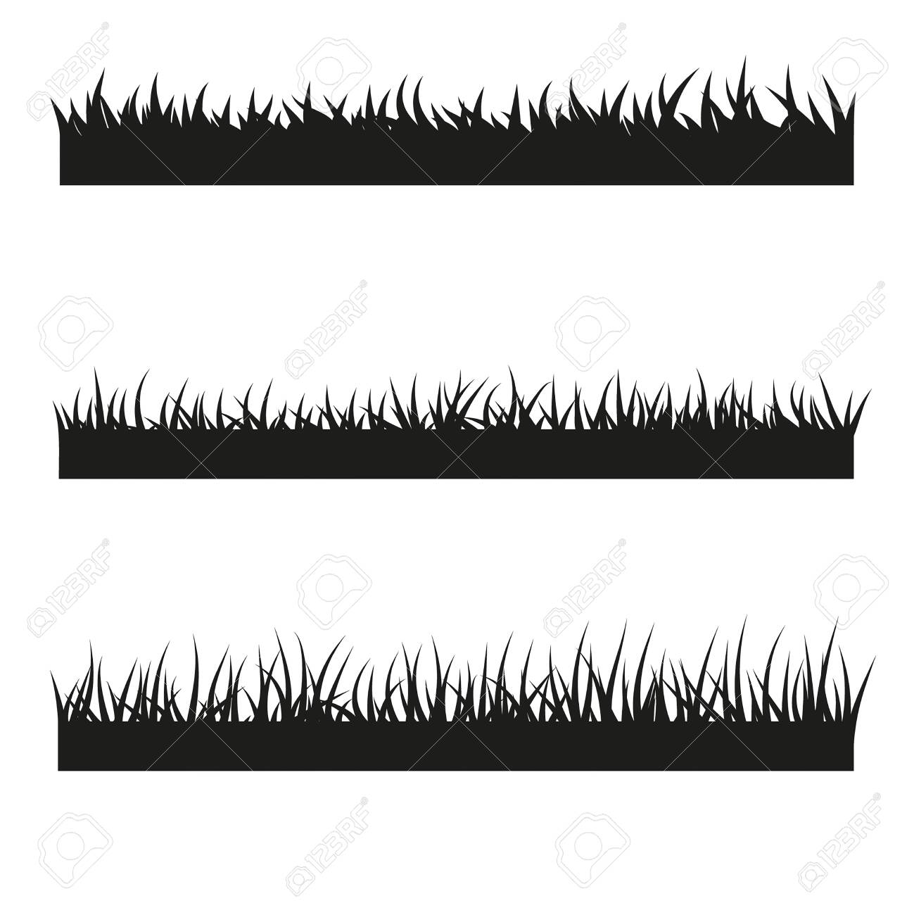 Vector set of black grass illustration - 137322246