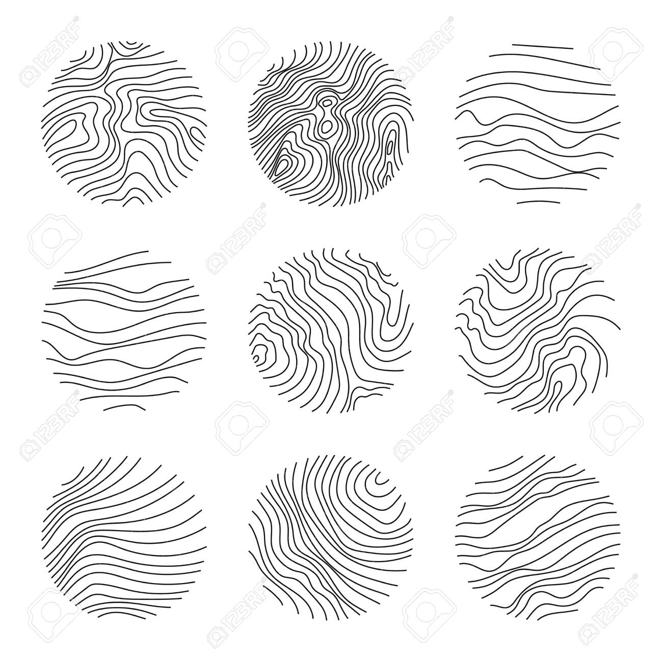 Set of round modern minimal with organic shapes with dynamic waves and lines. Vector emblem for cosmetics, beauty industry. Hand drawn templates black color. - 150599630