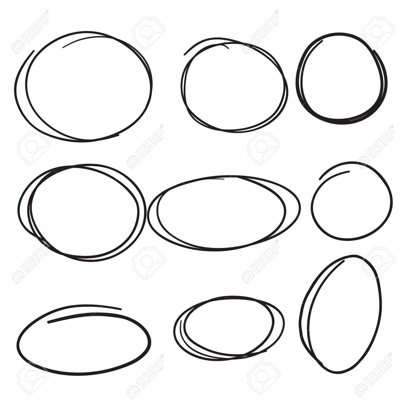 Set hand drawn ovals. - 172796448