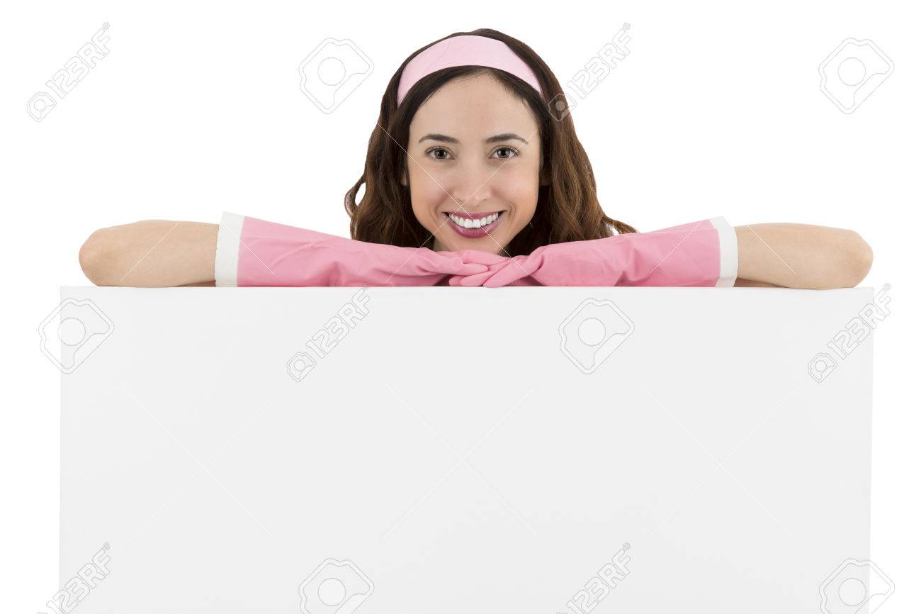caucasian cleaning lady smiling and presenting a blank caucasian cleaning lady smiling and presenting a blank advertisement billboard stock photo 38605520