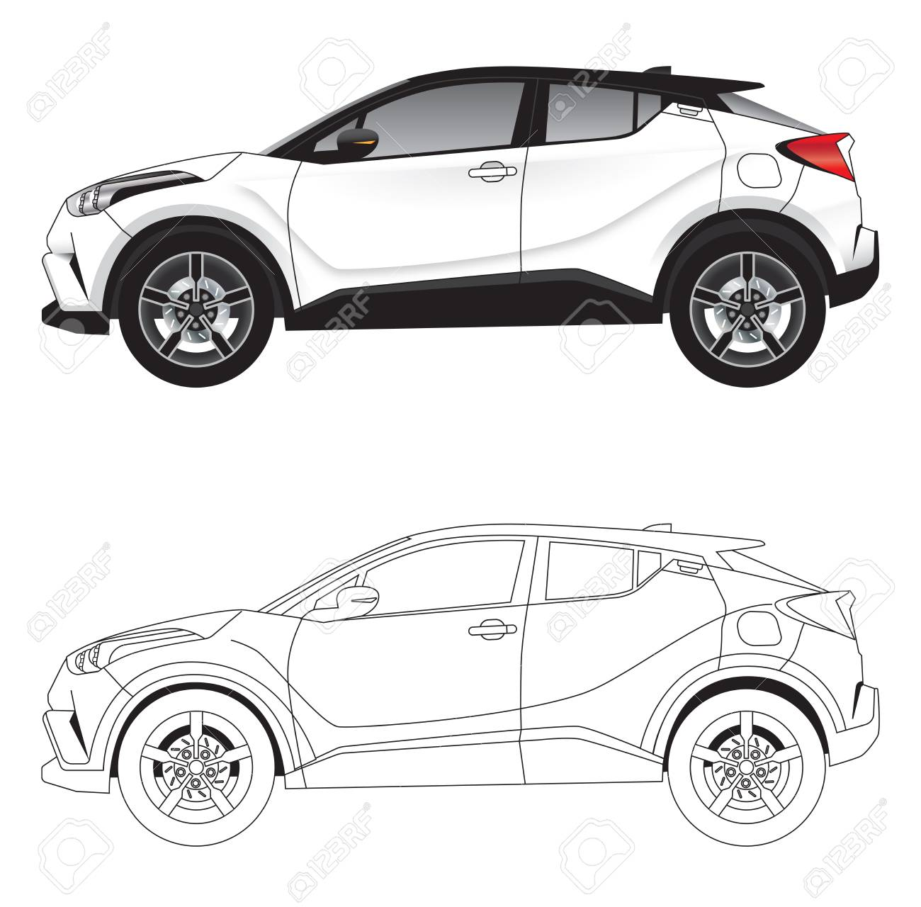 side with vector illustration diagram of aggressive styled sportsside with vector illustration diagram of aggressive styled sports suv car in colour and outline stock