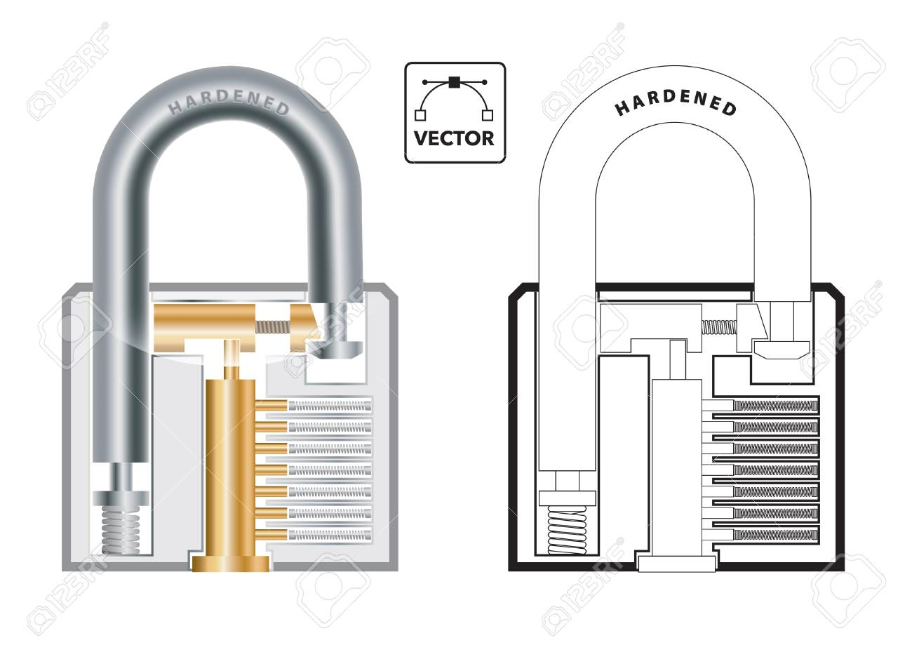 vector illustration of the cross section of a padlock showing Padlock Diagram padlock for travel