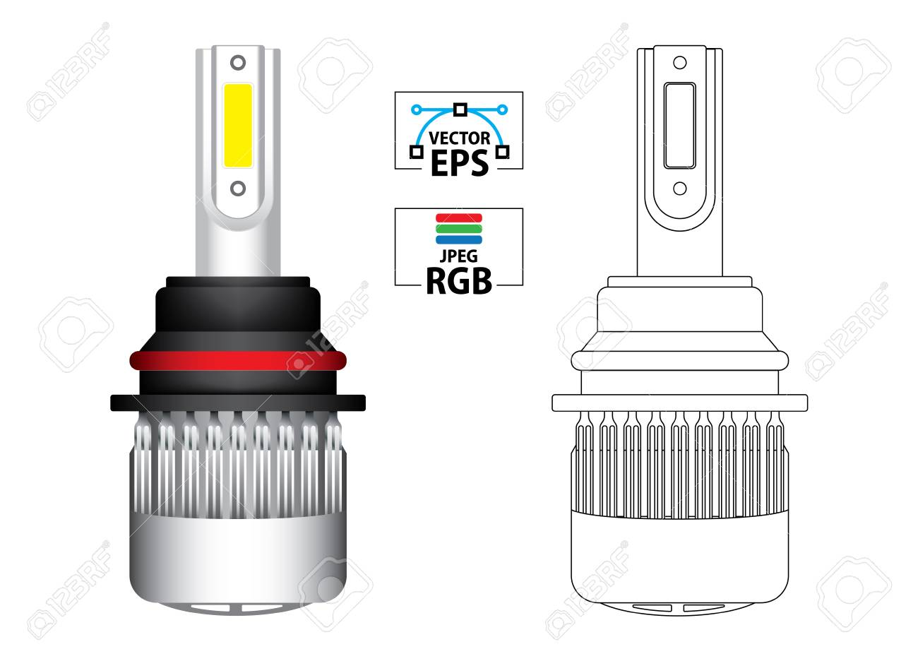 Led Replacement Headlight Bulbs >> Car Led Replacement Headlight Bulb Vector Illustration In Colour