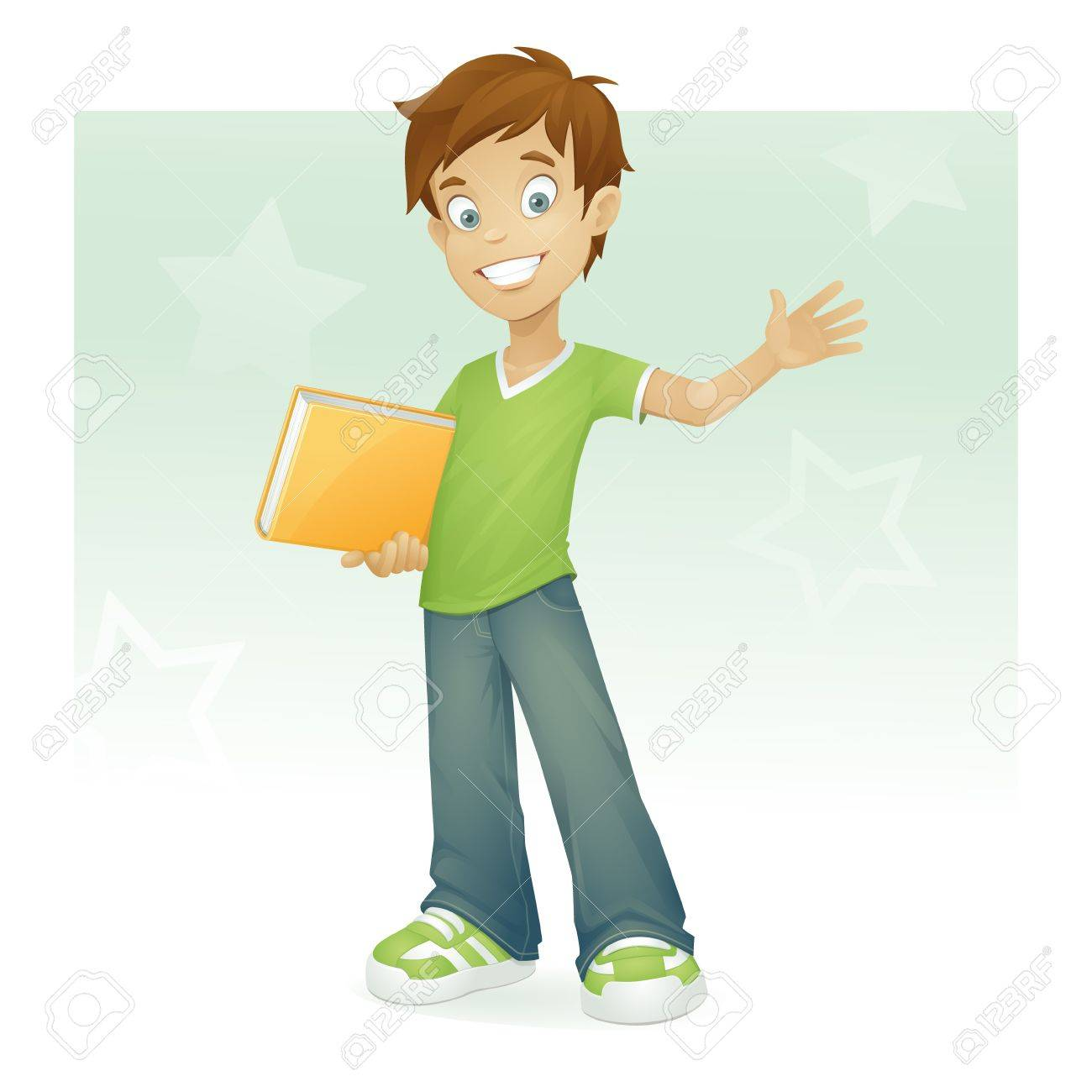 happy boy with book smiling and waving Stock Vector - 9955627