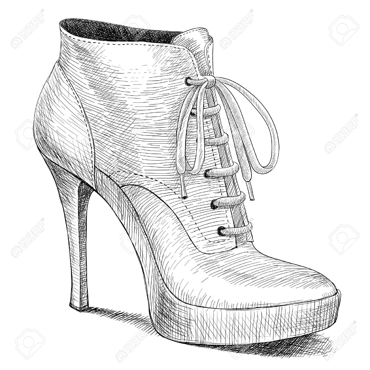 Vector Drawing Of Woman Fashion High Heel Shoes Boots In Ink ...