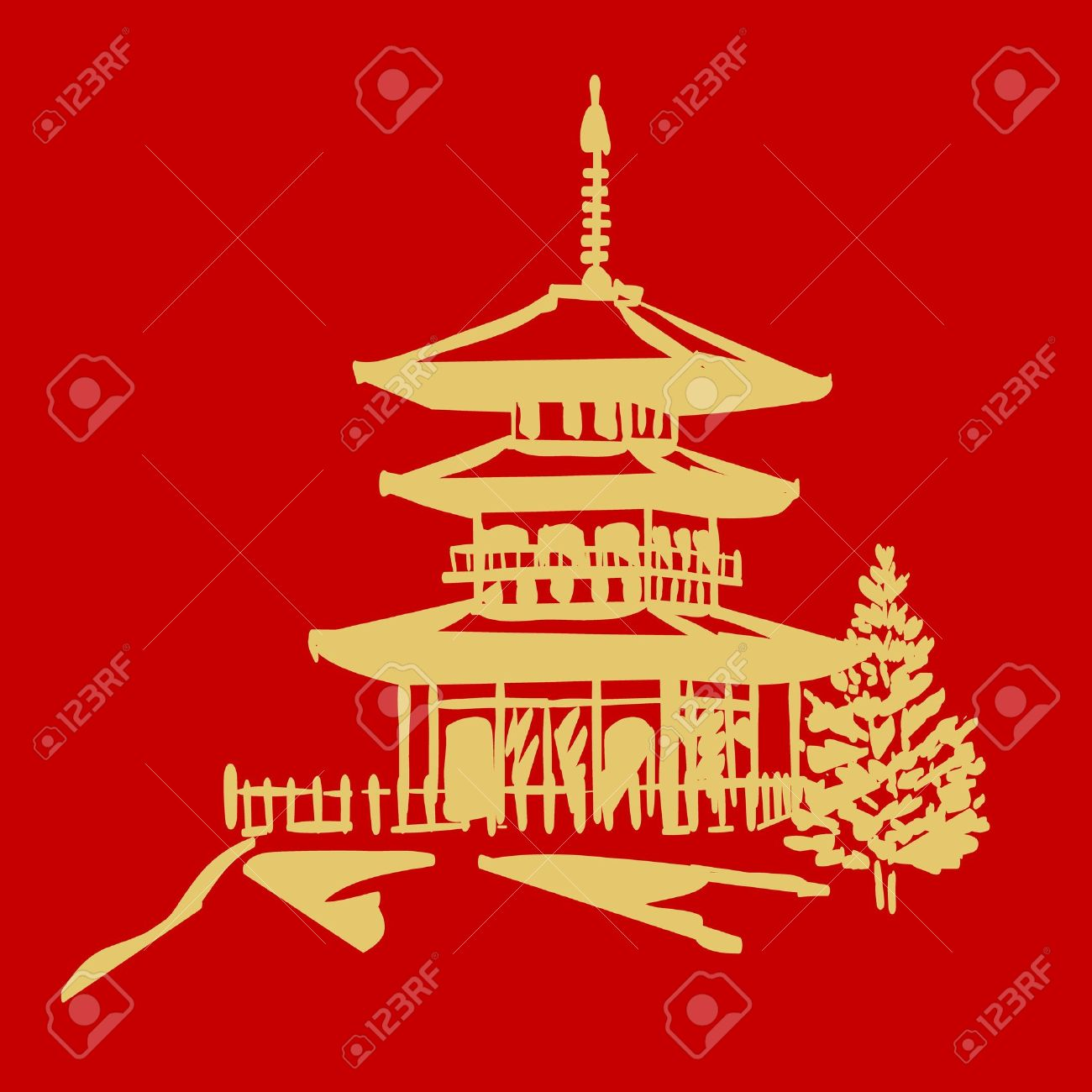 vector pagoda in gold and red colors Stock Vector - 10716442