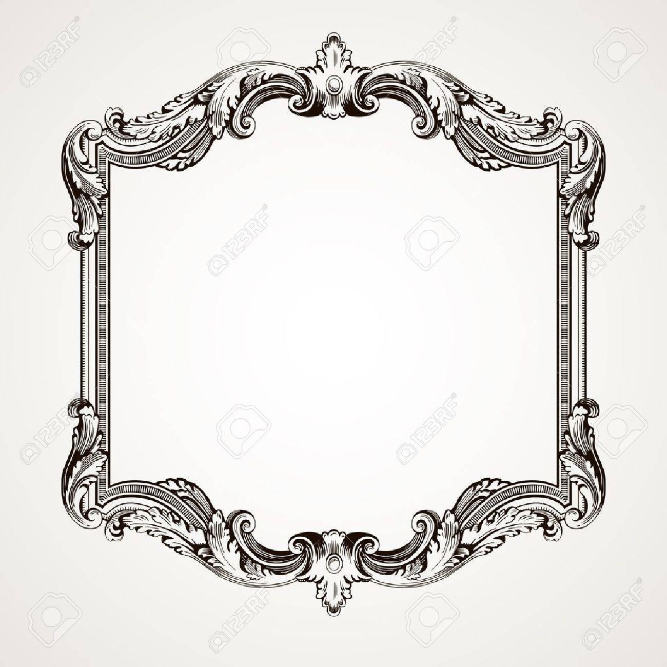 vector vector vintage border frame engraving with retro ornament pattern in antique rococo style decorative design