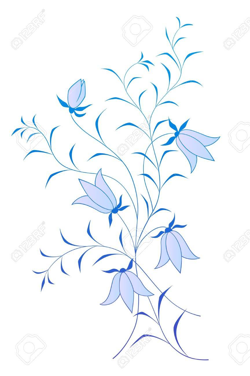 vector floral pattern with bluebells on white background Stock Vector - 12497660