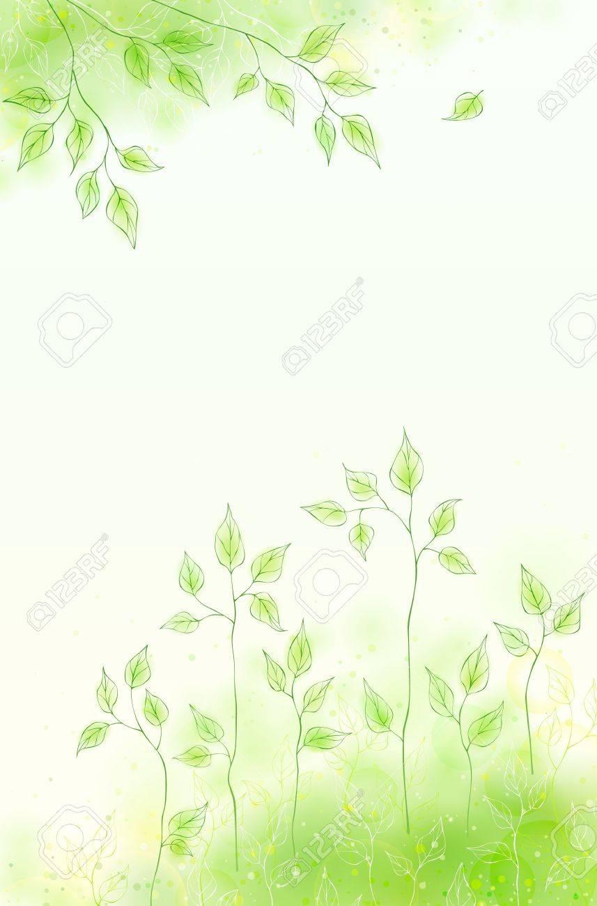 Vector spring card with green foliage Stock Vector - 12497674