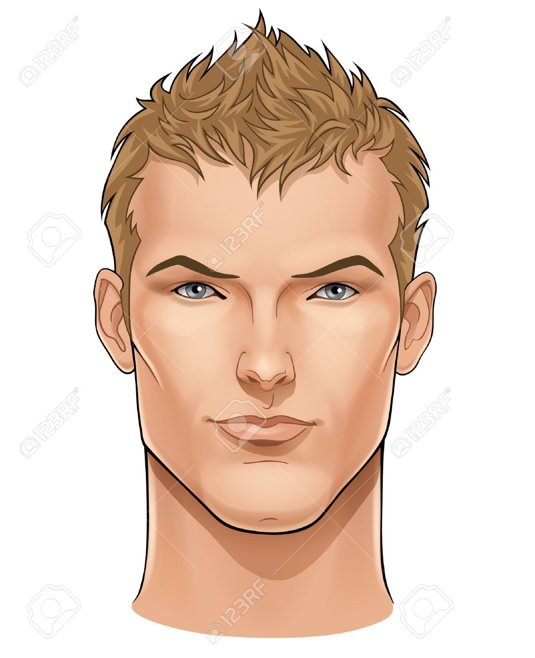 Vector face of handsome young man - 12497672