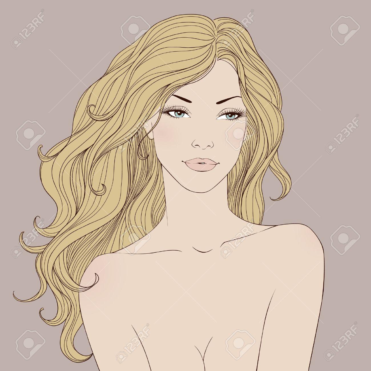 Fashion beautiful woman with long wavy hair. Vector - 12497656