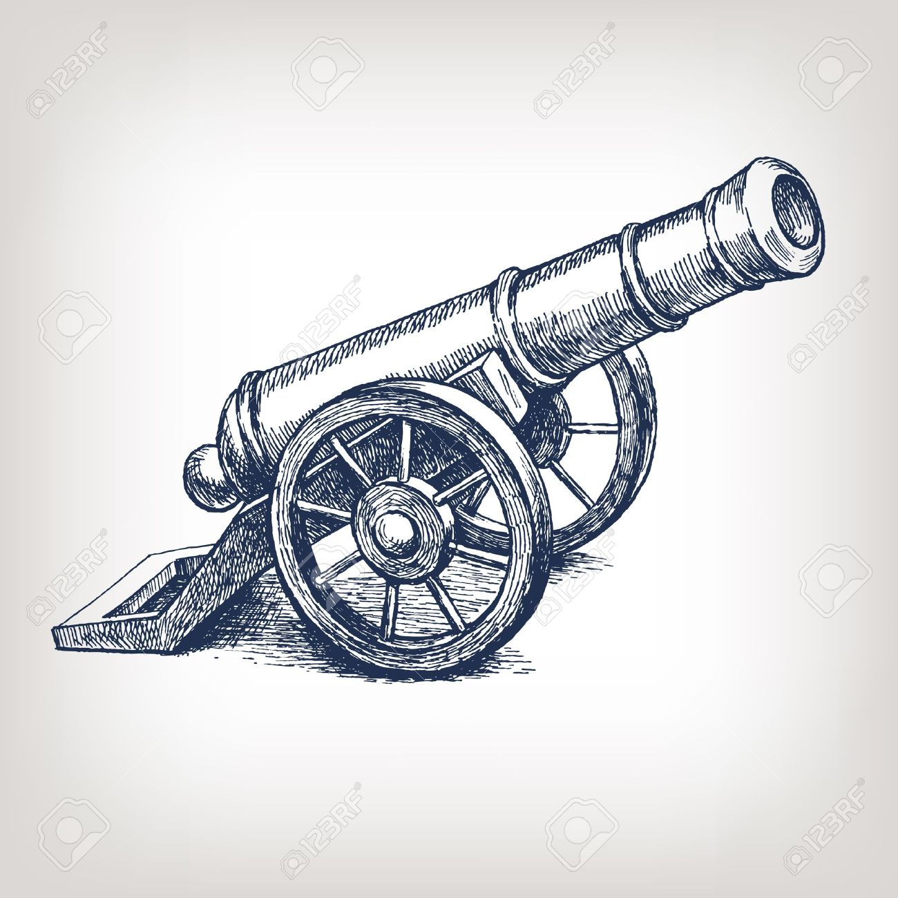 Vector ancient cannon vintage ink engraving illustration arm weapon hand drawn doodle sketch - 13486699